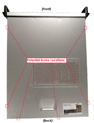 Screw locations on AATD computer chassis