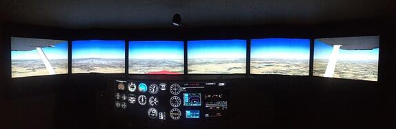 Picture of a Redbird FMX with Display Configuration Version 1, 22 inch monitors with all displays at the same height