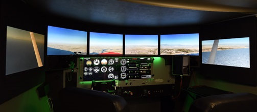 Picture of a Redbird FMX with Display Configuration Version 2, 22 inch monitors with lowered wing displays