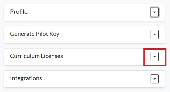 Curriculum Licenses button