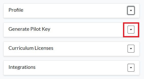 Generate Pilot Key button