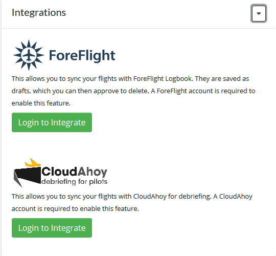 Integrations selections
