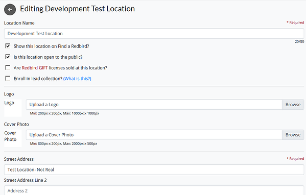 Editing Development Test Location menu