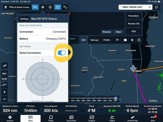 Enabling direct connection between ForeFlight and Bad Elf GPS