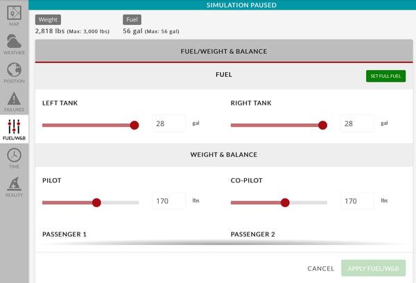 Fuel Weight and Balance adjustment menu