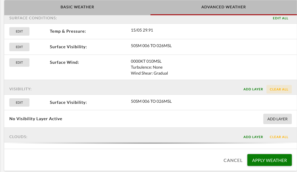 Advanced Weather tab