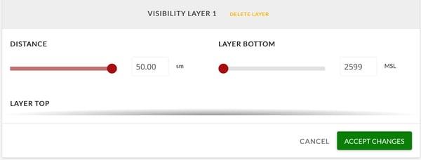 Visibility Layer 1 adjustment menu