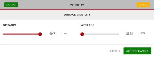 Surface Visibility adjustment menu