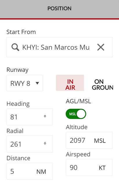 In Air Position menu