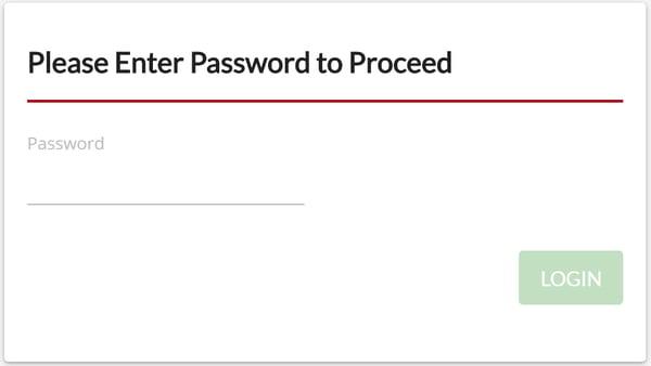 Settings - Enter Password window