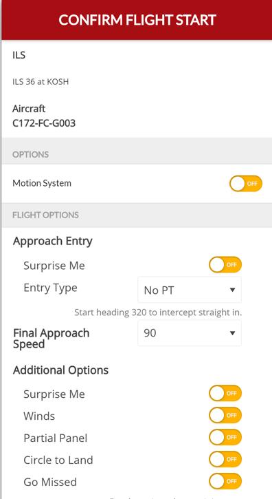 GIFT Confirm Flight Start window