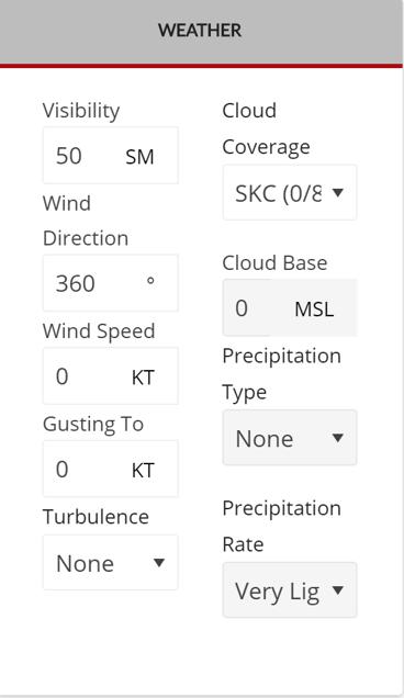 Free Flight Weather menu
