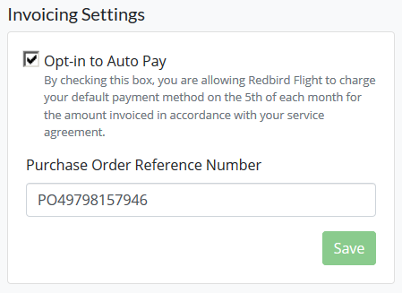 Opt in Auto Pay