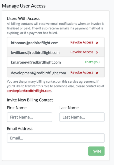 Primary Billing Contact