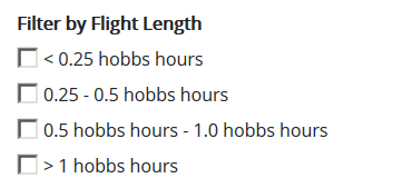 Filter By Flight Length checkboxes