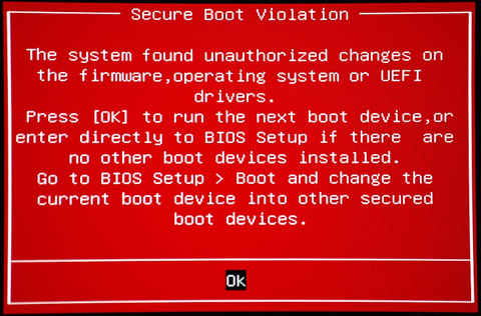 ASUS Secure Boot Violation