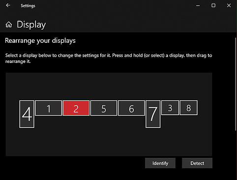 Windows 10 Display Settings Menu, with all monitors aligned