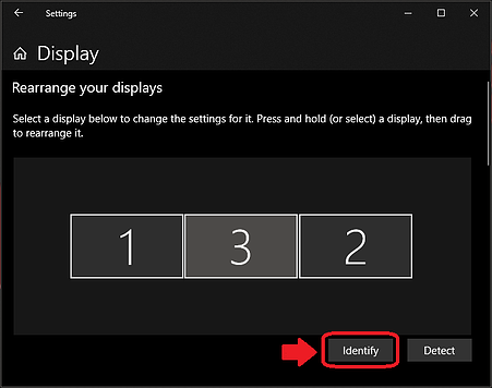 Windows 10 Display Settings menu, with Identify button highlighted