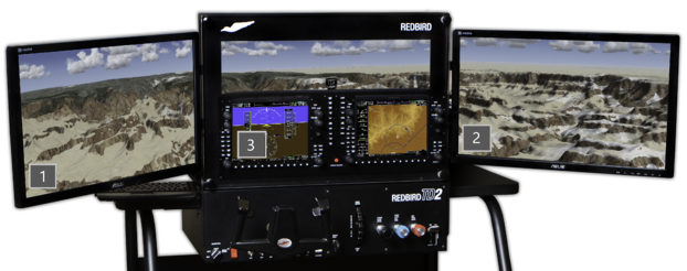 Redbird TD2 G1000 Horizon configuration with monitor identify numbers displayed
