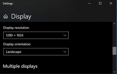 Windows 10 Display Settings - Resolution and Orientation