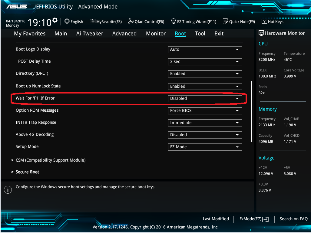 """Where to disable the """"Wait for 'F1' If Error"""" setting"""