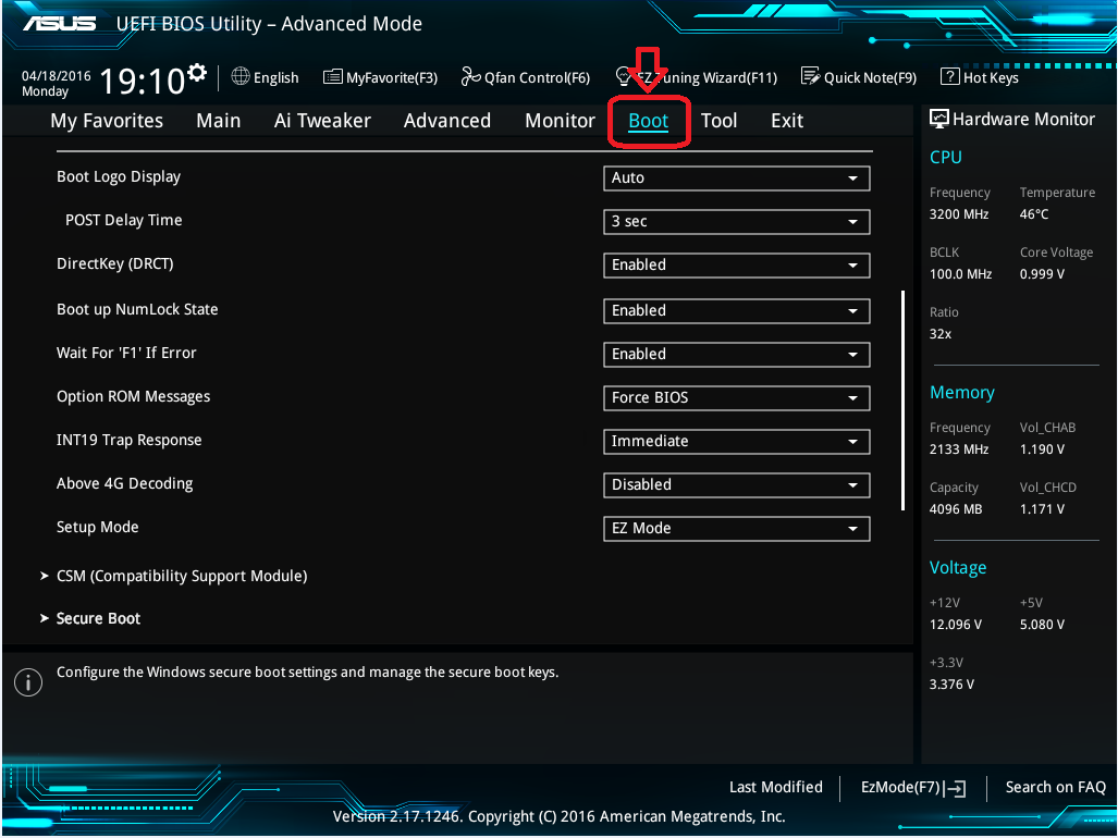 'Boot' tab location in the Advanced Mode settings menu