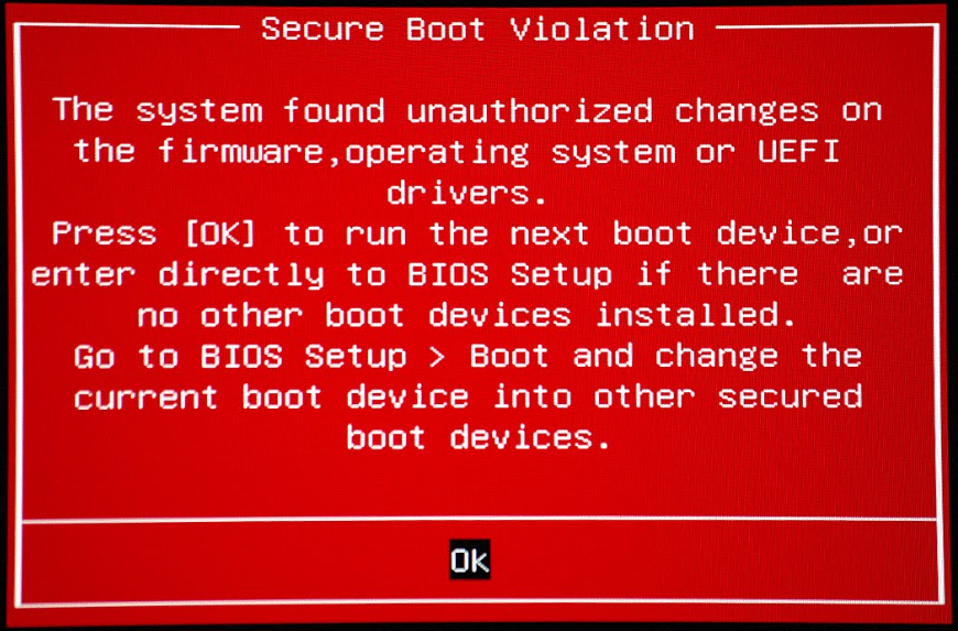 ASUS Secure Boot Violation