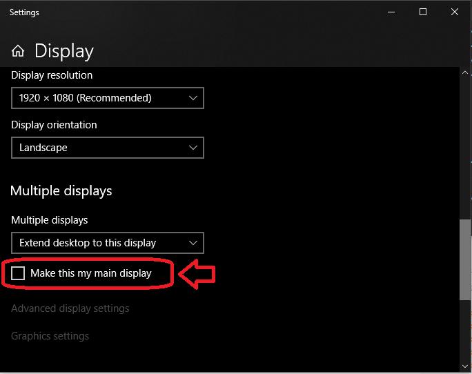 Windows 10 Display Settings menu, with Make this my main display setting highlighted