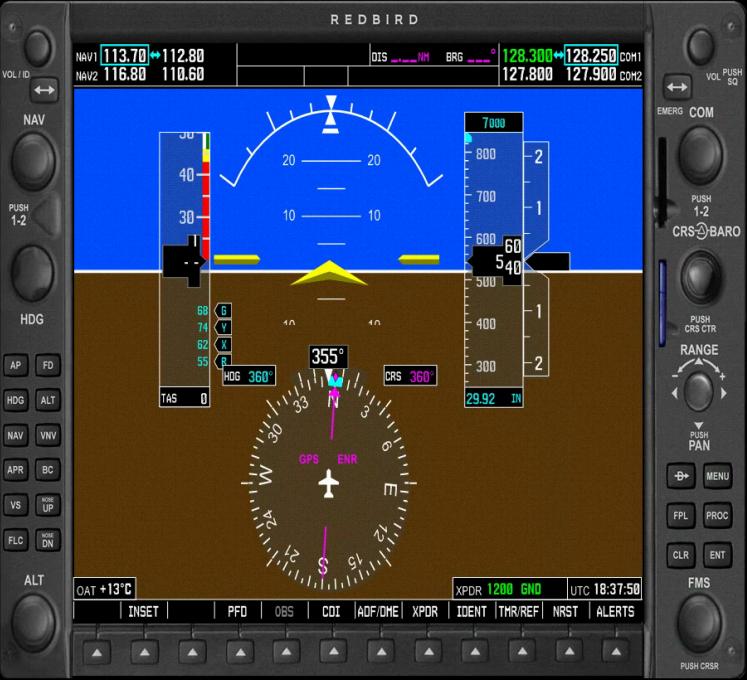 Redbird 1000 Primary Flight Display